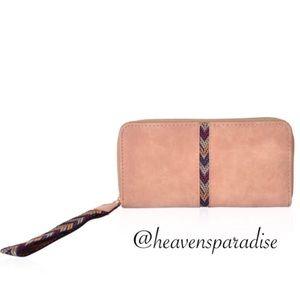 Oak Brown Faux Leather Chevron Pattern Wristlet